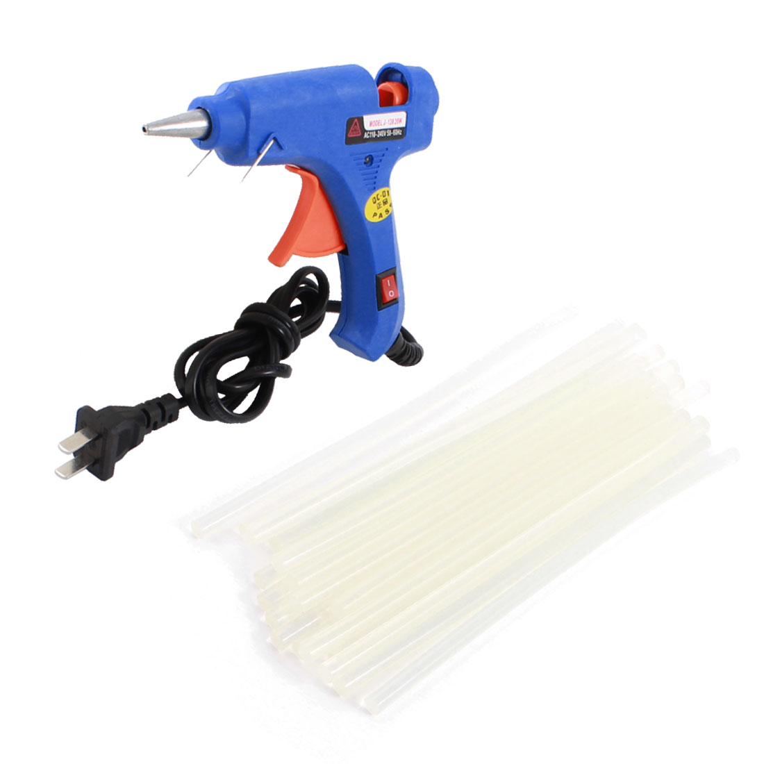 AC100V-240V US Plug Plastic Shell Arts Craft Crafting 20W Blue Glue Gun + 20Pcs 7x190mm Hot Melt Adhesive Sticks
