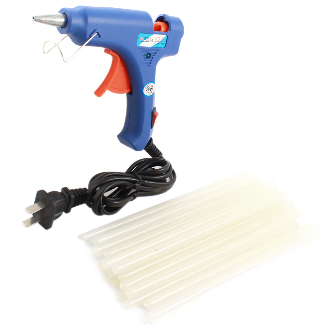 AC100V-240V US Plug Plastic Shell Arts Craft Crafting 20W Blue Glue Gun + 20Pcs 7x170mm Hot Melt Adhesive Sticks