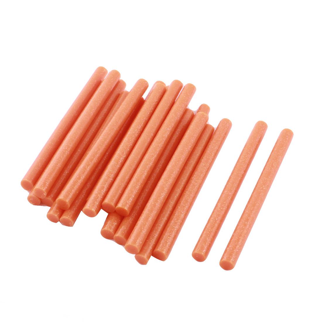 20 Pcs Orange Glitter Hot Melt Glue Gun Adhesive Sticks 7mm x 100mm for Crafting Models