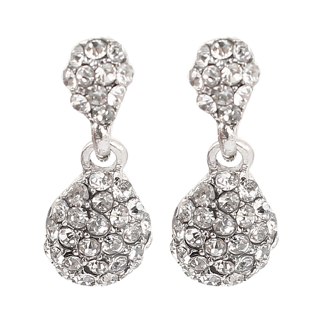 Pair Silver Tone Ear Decor Bling Rhinestone Accent Stud Earrings for Lady