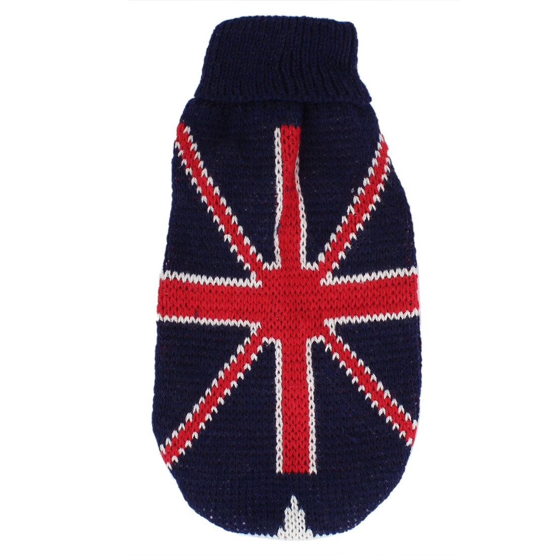 Pet Dog Poodle Flag Pattern Dark Blue Red White Ribbed Cuff Knitwear Turtleneck Apparel Sweater XXS