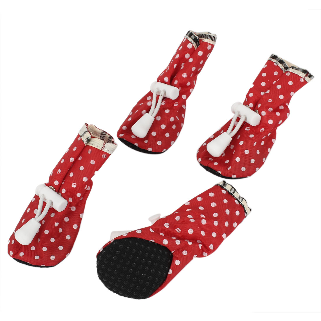 2 Pair Adjustable String Pet Dog Doggy Waterproof Rain Shoes Boots Booties Red White Size XXS