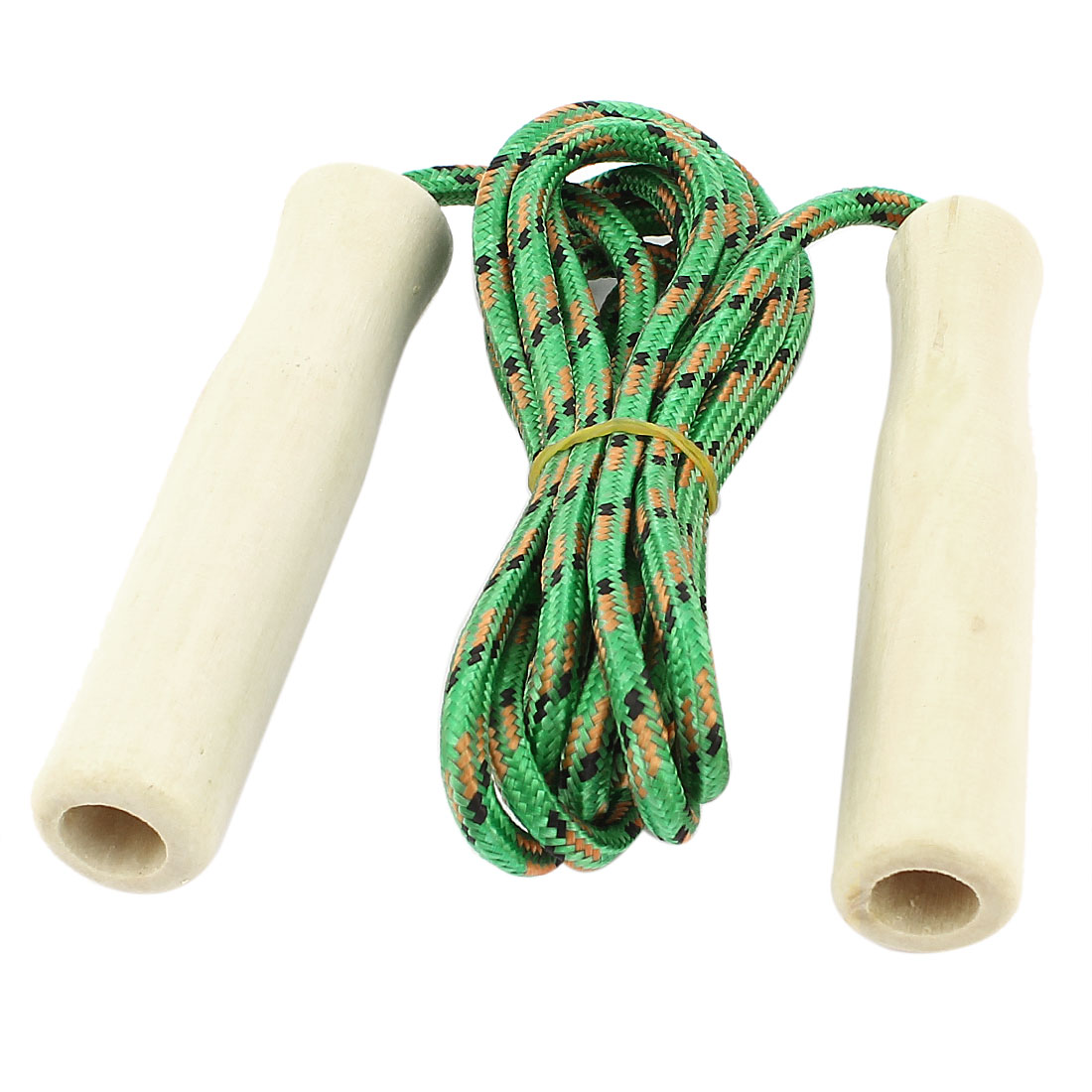 Wooden Handle Sports Exercise Jumping Skipping Rope Green 2 Meter Long