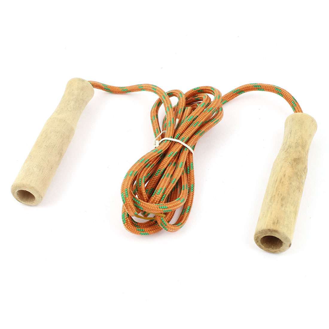Wooden Handle Sports Exercise Jump Skip Skipping Rope Orange 2 Meter Length