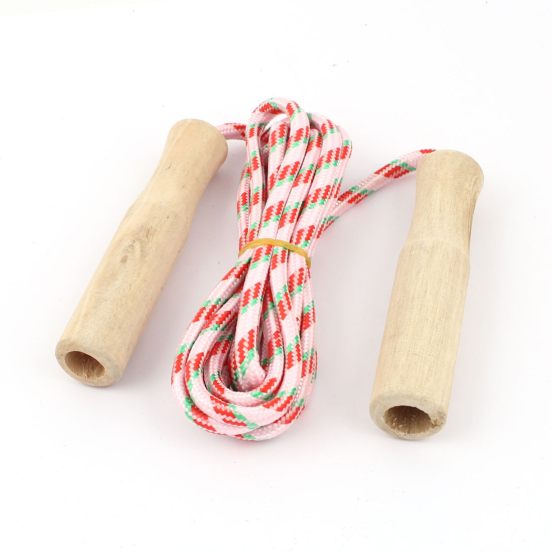 Wooden Handle Sports Exercise Jumping Skipping Rope Pink 2 Meter Long