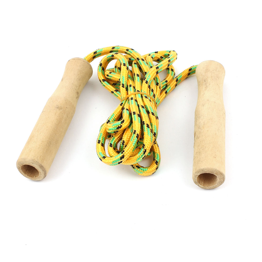 Wooden Handle Sports Exercise Jumping Skipping Rope Yellow 2 Meter Long