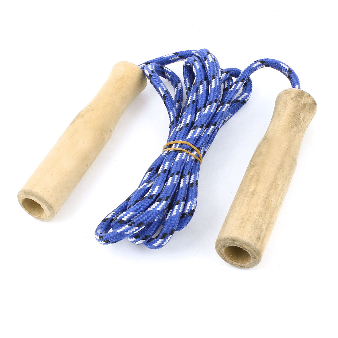 Wooden Grip Sports Exercise Jump Skip Skipping Rope Blue 2 Meter Long