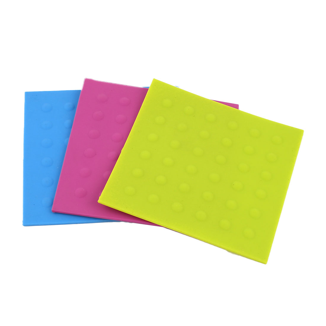 3 Pcs Soft Rubber Nonslip Cup Beverage Coaster Cushion Mat Placemat Pad Blue Yellow Fuchsia