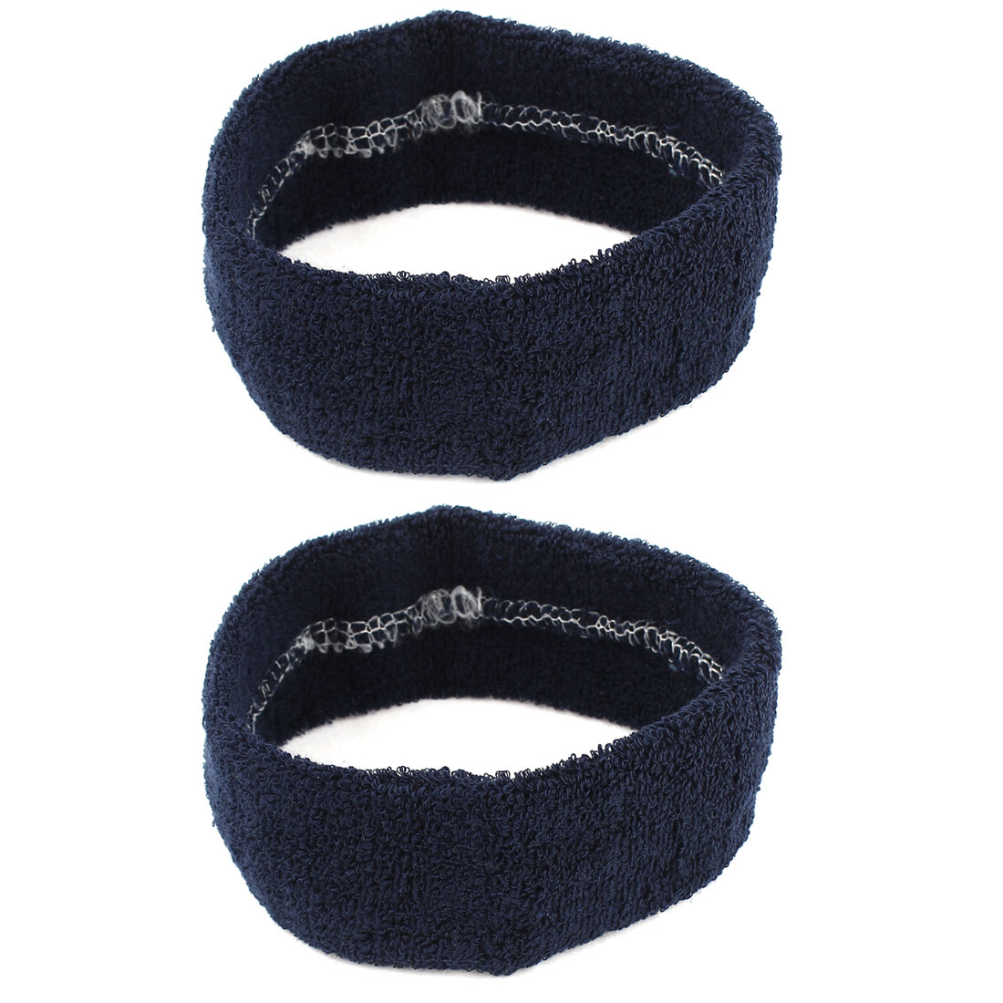 2 Pcs Dark Blue Sports Terry Fabric Elastic Strecthy Band Headbands