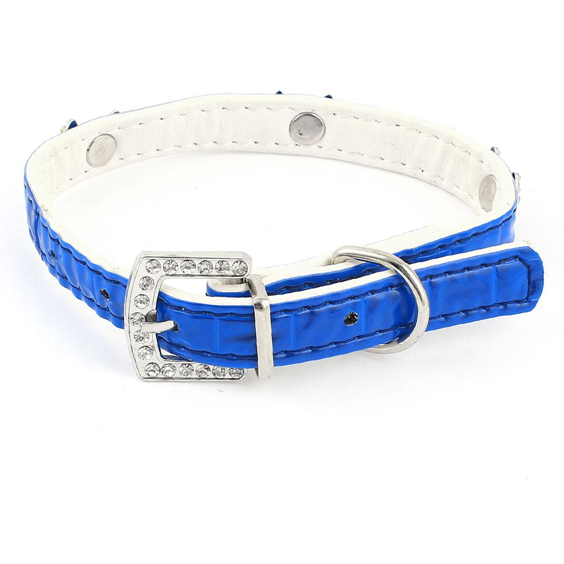 Blue Single Prong Buckle Rhinestone Decor Adjustable Pet Dog Collar 1.5cm Width