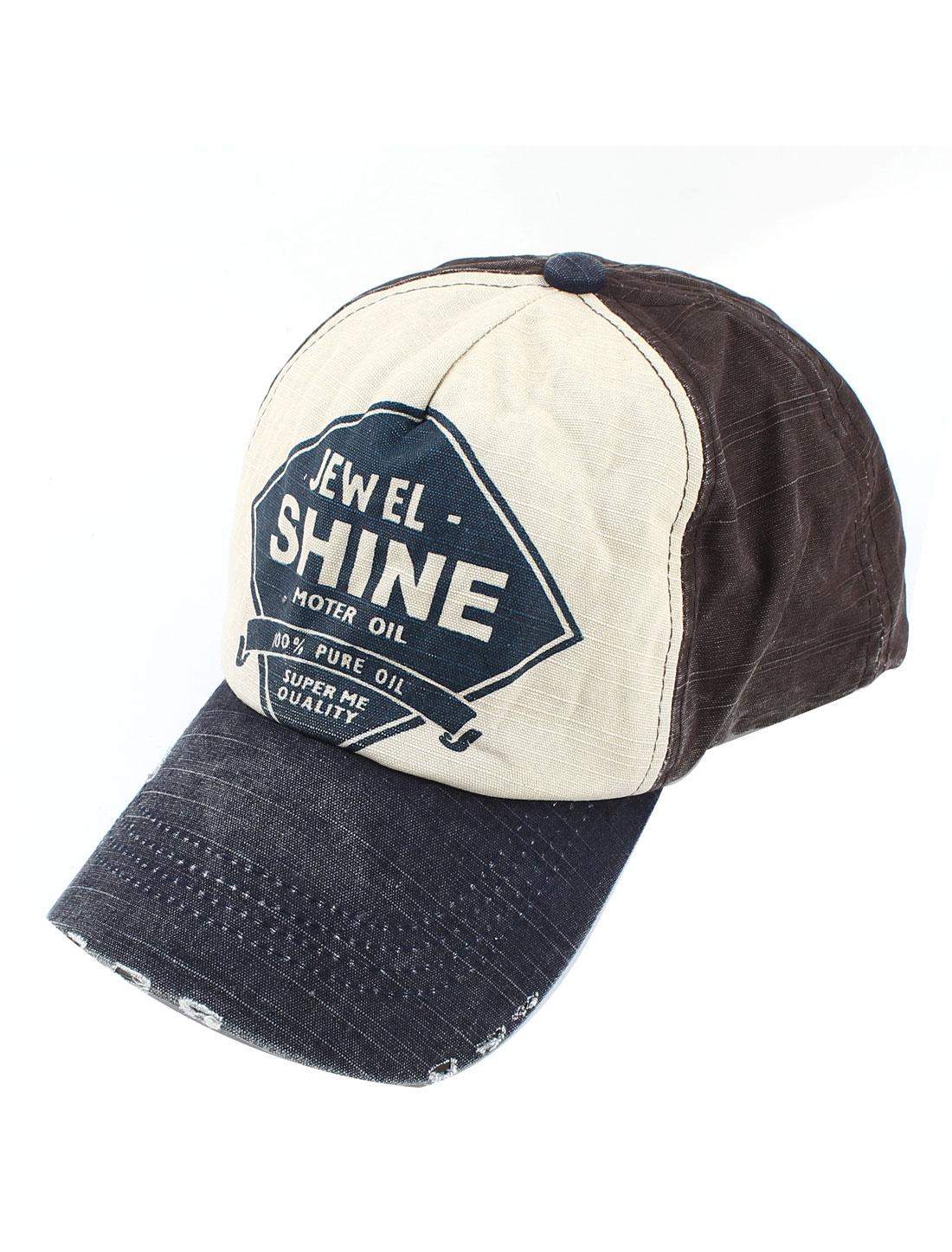 Women Men Visor Front Letter Pattern Summer Peaked Cap Cricket-Cap Dark Blue