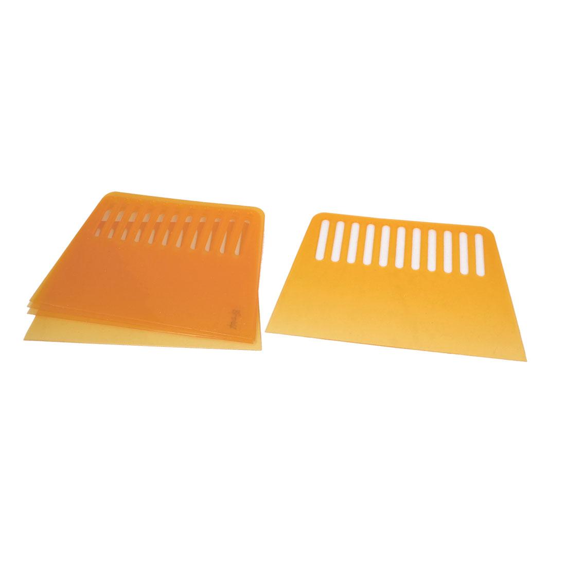 "5pcs 4"" Wide Trapezoid Plastic Varnish Paint Remover Wallpaper Putty Scraper Dark Yellow"