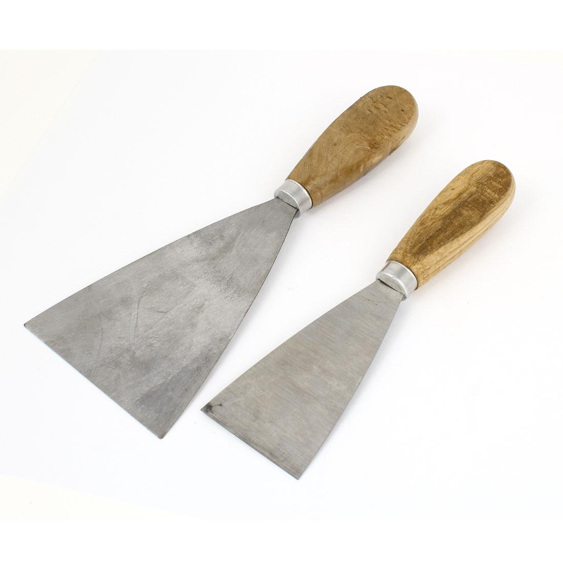 "2pcs 2"" 3.5"" Width Metal Blade Wooden Handle Drywall Repair Putty Scraper"