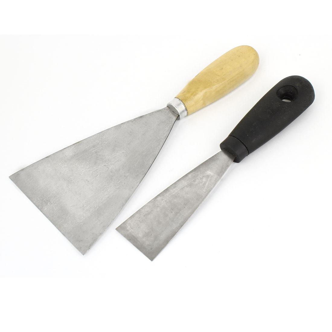 "2pcs 1.5"" 4"" Width Metal Blade Wooden Plastic Handle Drywall Repair Putty Scraper"