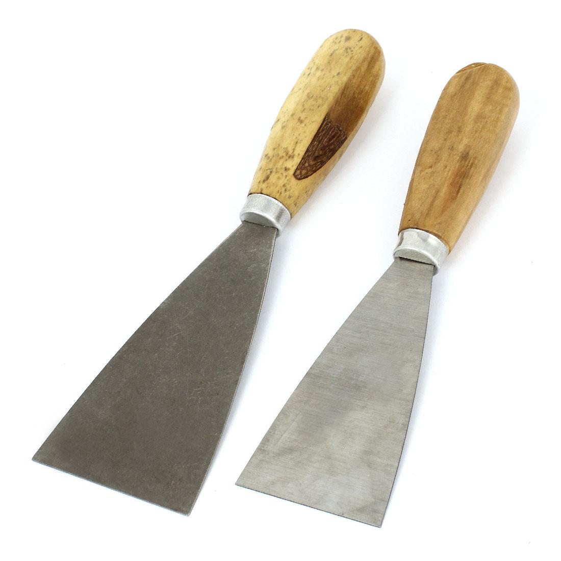 "2pcs 2"" 2.5"" Width Metal Blade Wooden Handle Drywall Repair Putty Scraper"