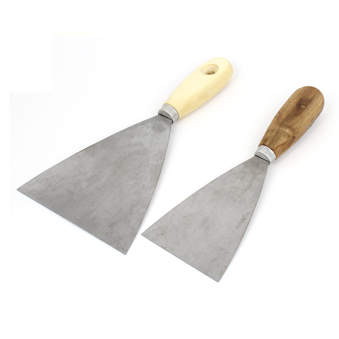 "2pcs 3"" 5"" Width Metal Blade Wooden Handle Hand Tool Drywall Wall Putty Scraper"