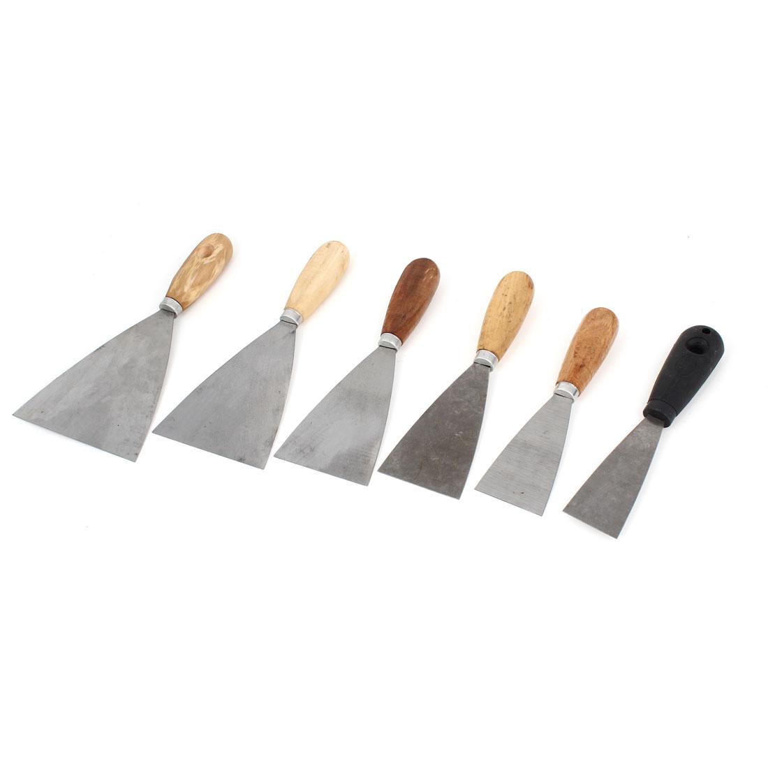 6 in 1 Set Metal Blade Anti-slip Handle Drywall Wall Repair Tool Putty Scraper