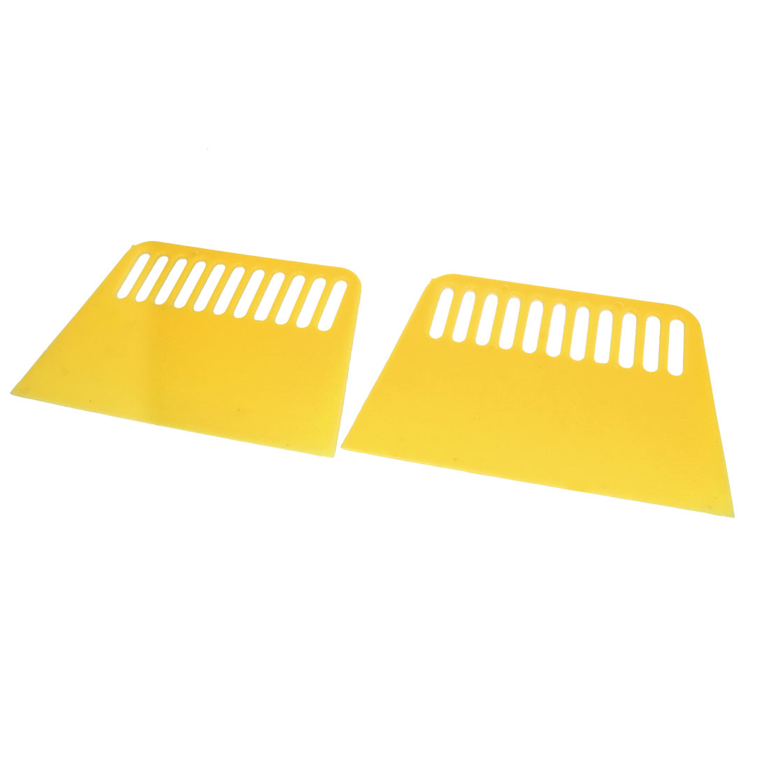 "2pcs 5"" Wide Trapezoid Plastic Varnish Paint Remover Wallpaper Putty Scraper Light Yellow"