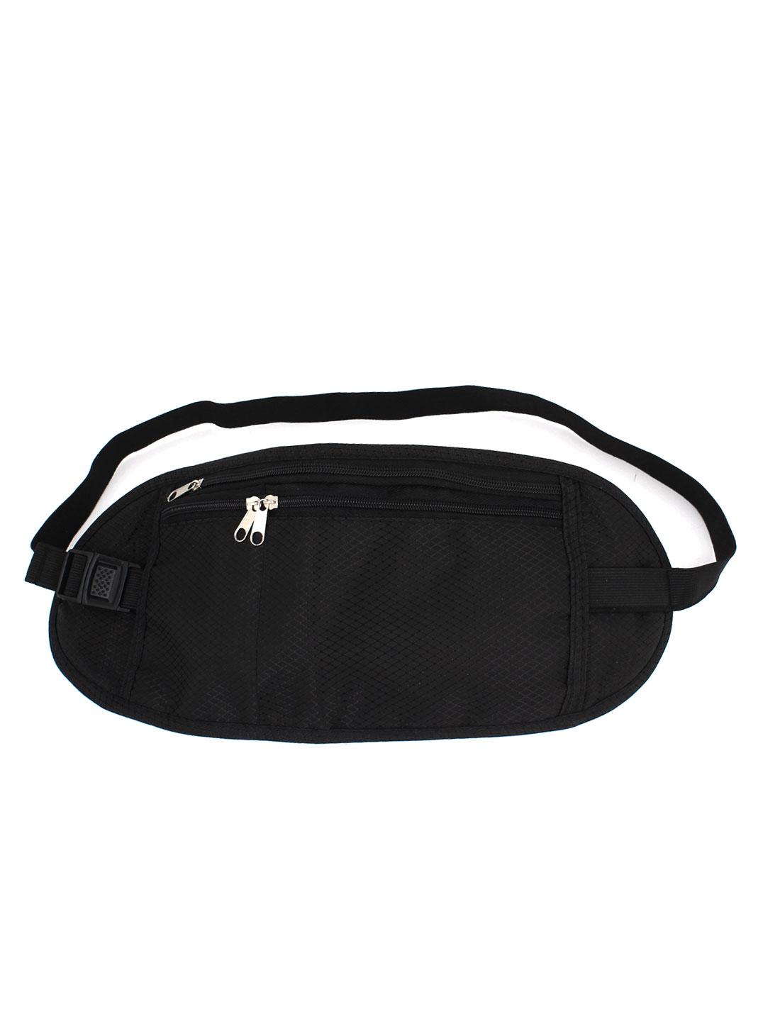 Men Plaids Pattern 2 Pockets Zipper Closure Adjustable Elastic Strap Waist Pack Bag Black