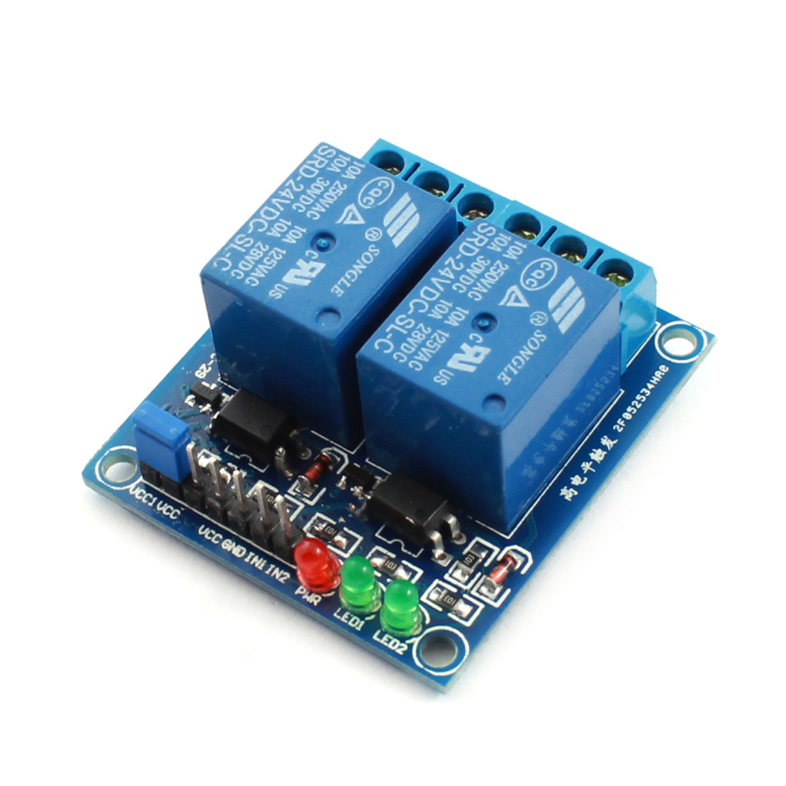 DC 24V 2 Channels Photoswitch High Level Trigger Optical Isolation Control PCB Circuit Relay Module Blue