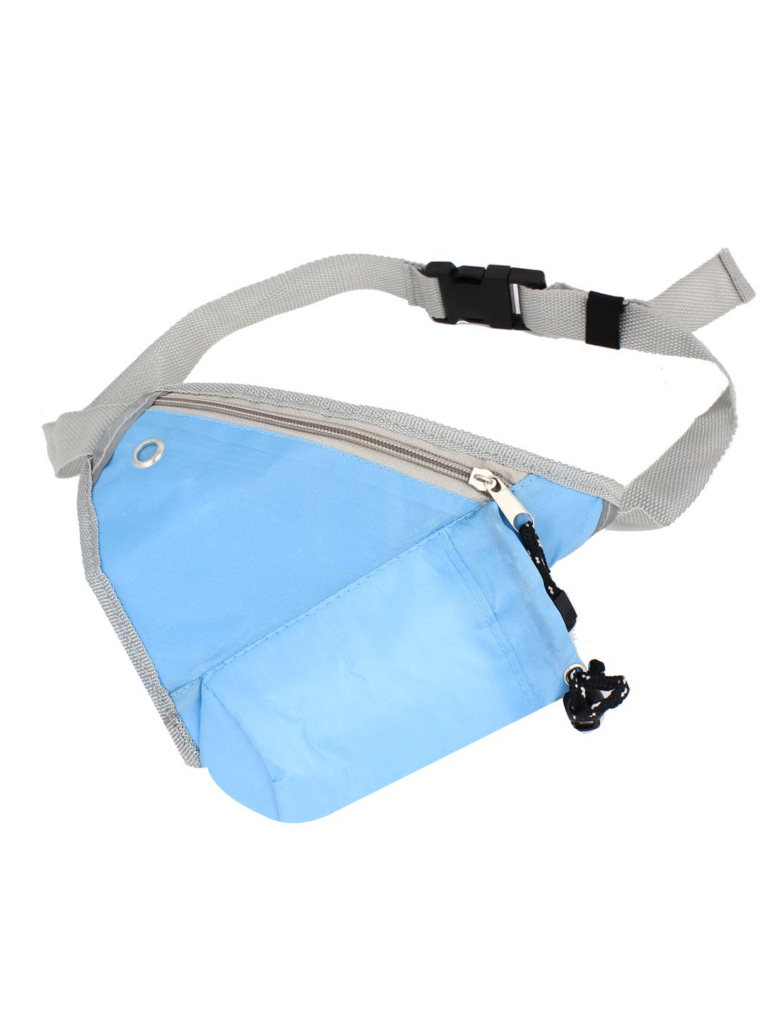 Men 2 Pockets Zipper Closure Adjustable Strap Shoudler Waist Pack Bag Sky Blue