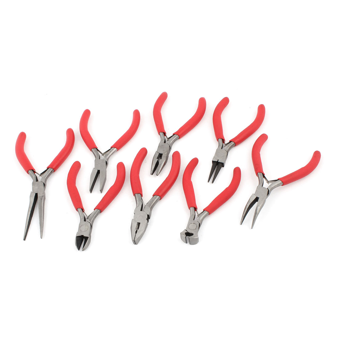 8 in 1 Plastic Nonslip Handle Single Leaf Spring Diagonal Side + Round Nose + Needle Jewelry Pliers Set