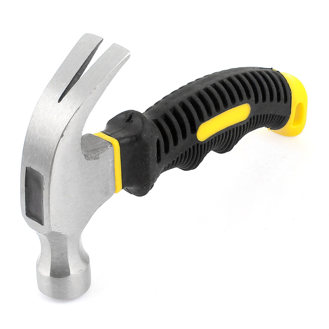 Black Yellow Soft Rubber Grip Mini Stubby Claw Hammer Nail Holder 160mm 6""