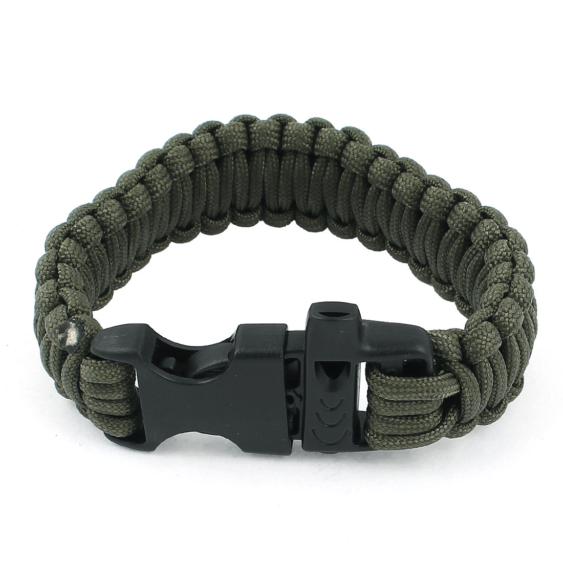 Outdoor Camping Army Green Nylon Weave Release Buckle Self-Rescue Cord Survival Bracelet