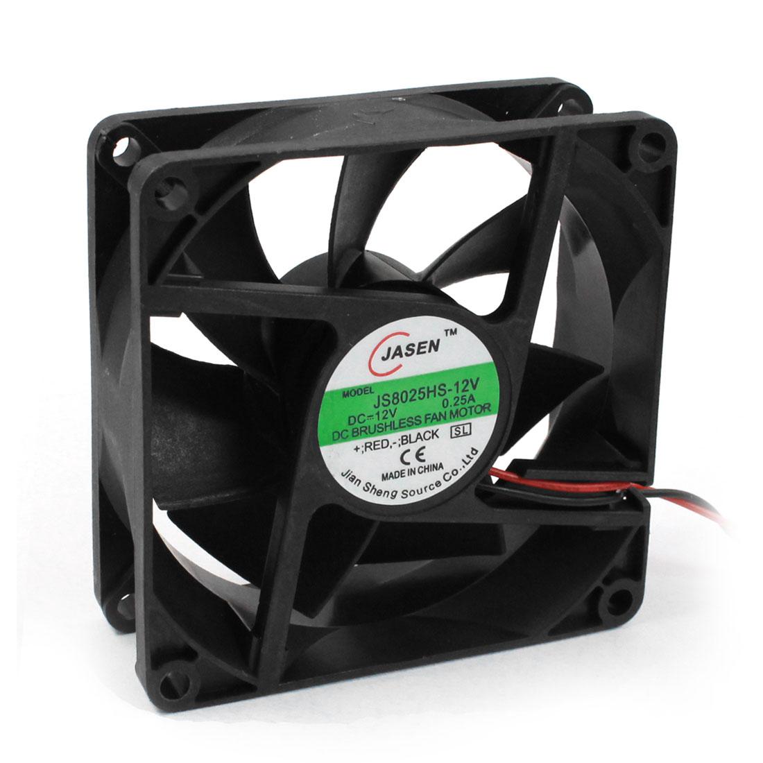 DC 12V 80mmx80mm Cooling Fan Black w Dustproof Mesh for PC Case CPU Cooler Radiator