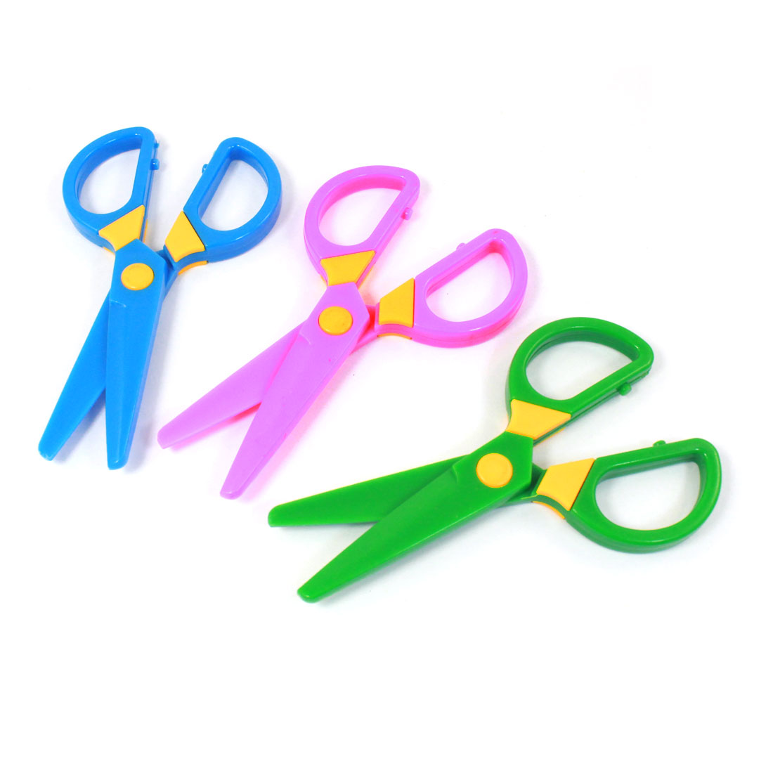 School Students Paper Craft Multicolor Plastic Handle Scissors 3 Pcs
