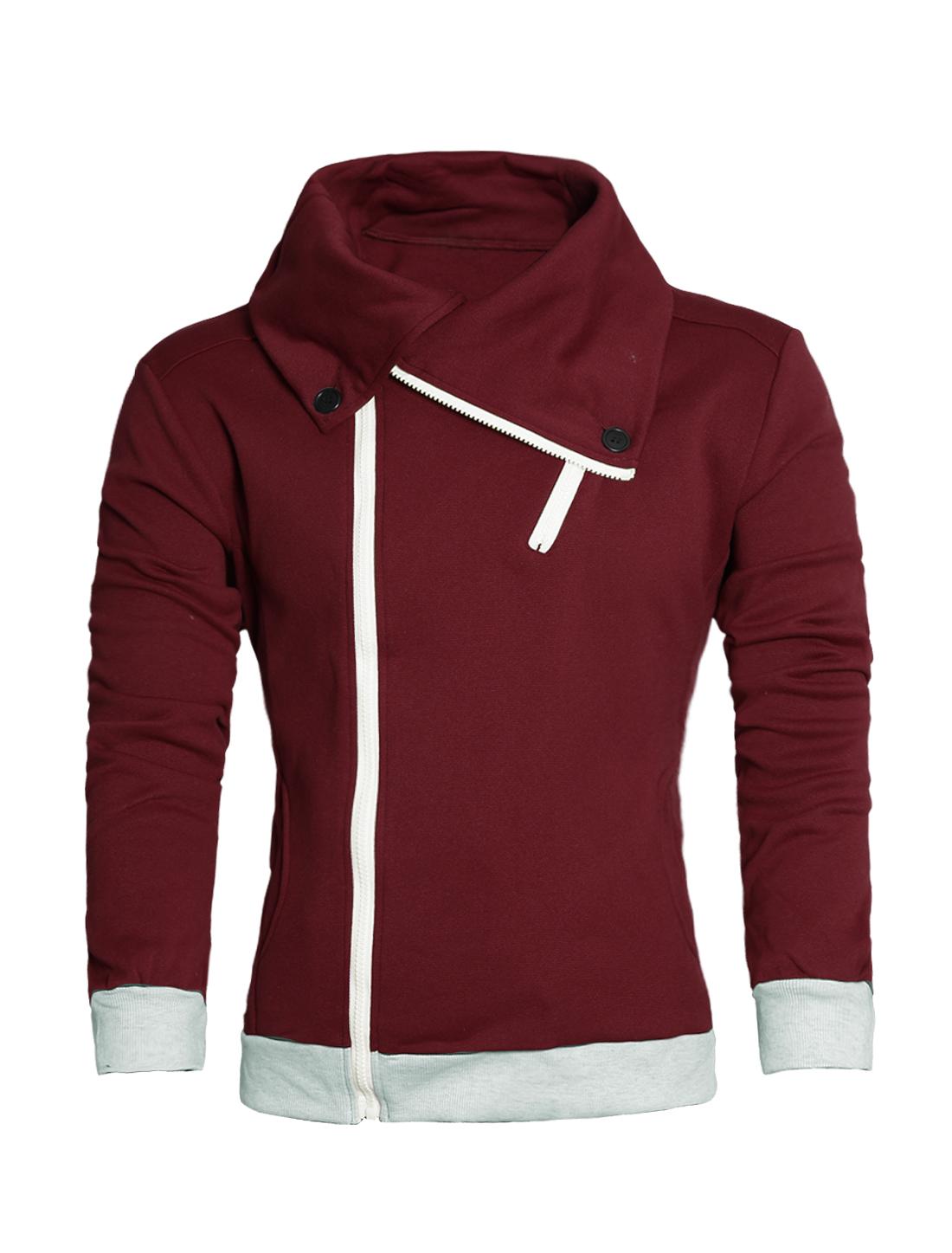 Man Leisure Long Sleeves Zip Closed Burgundy Sweatshirt M