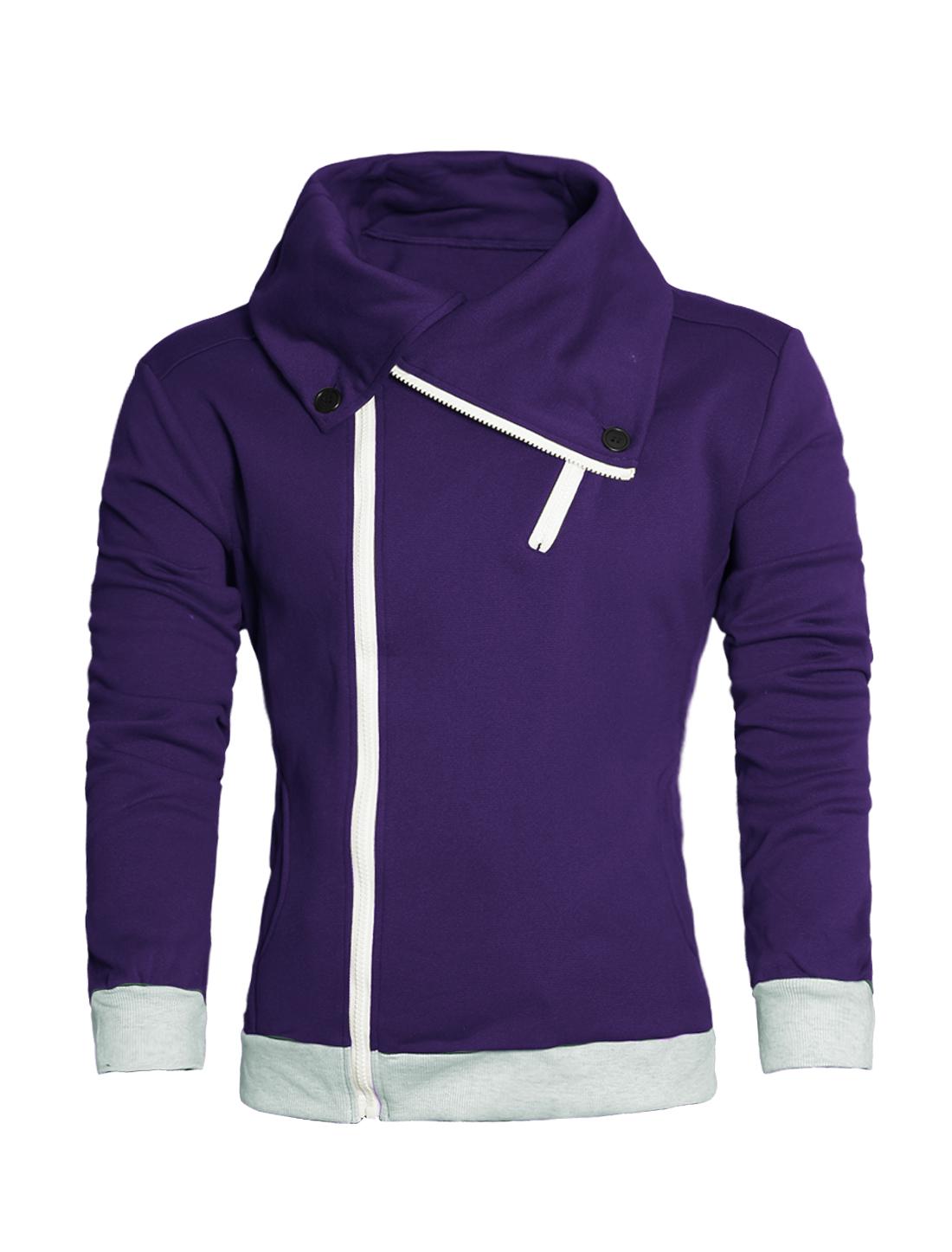 Double Pocket Turn Down Collar Purple Sweatshirt for Men M