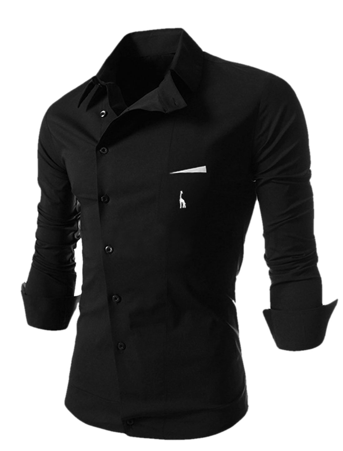 Man Black Point Collar Full Sleeves Inclined Single Breasted Fashion Shirt M