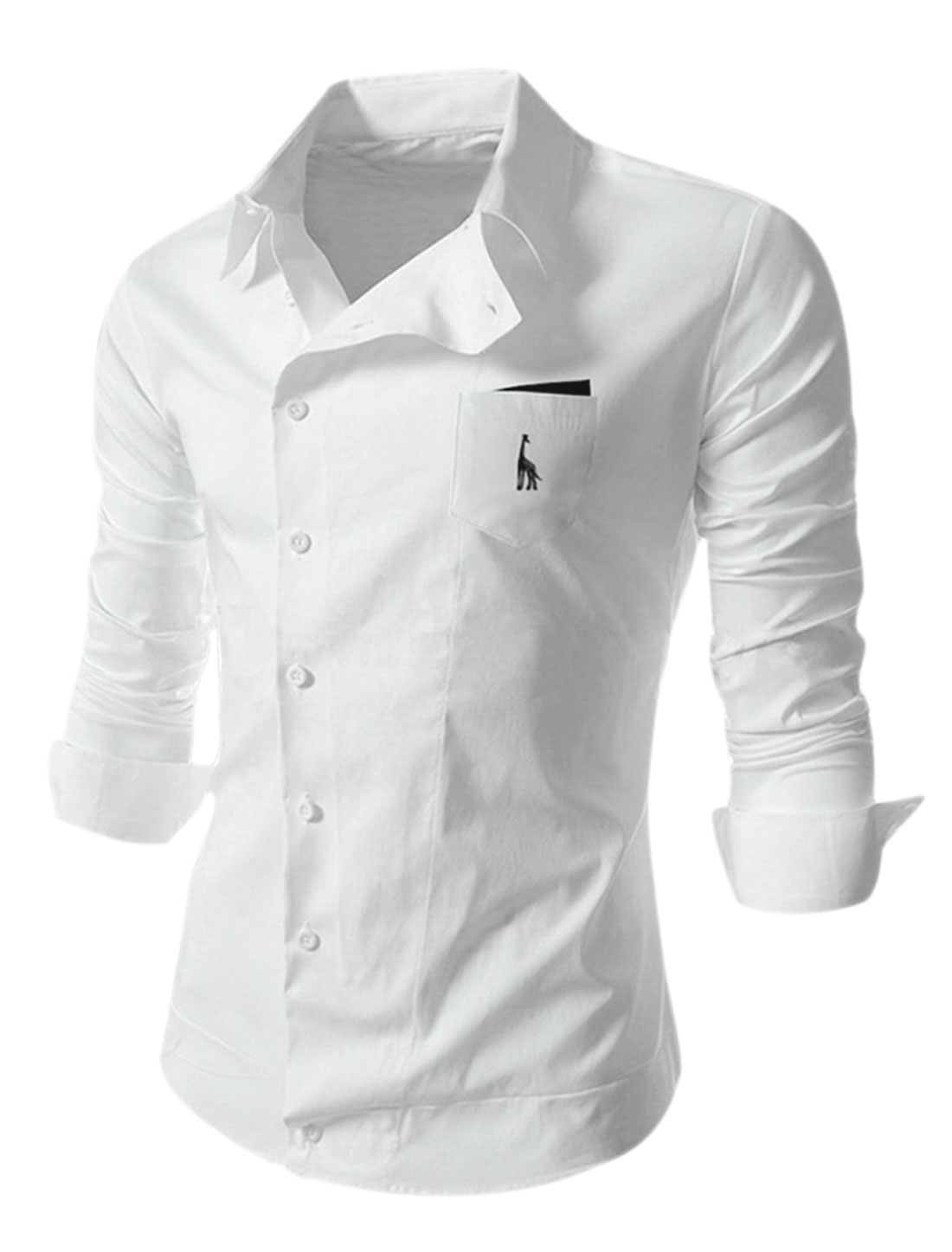 Man White Point Collar Long Sleeves Inclined Single Breasted Casual Shirt M