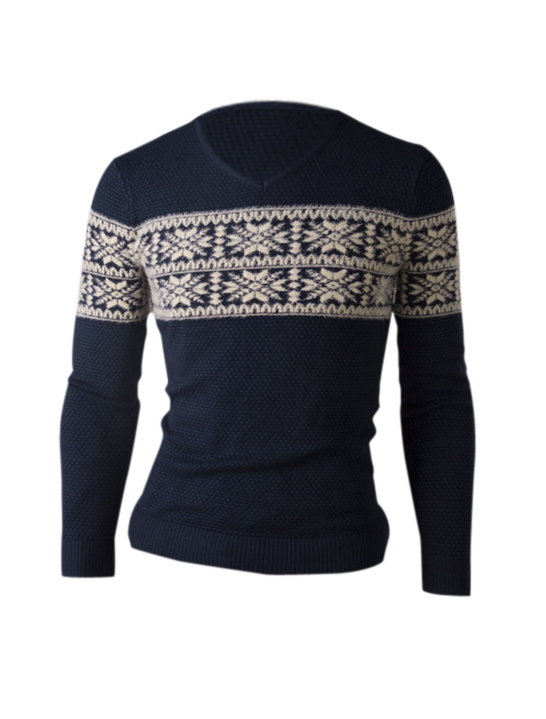 Men Contrast Color Snowflake Pattern Fleece Detail Casual Sweater Navy Blue S