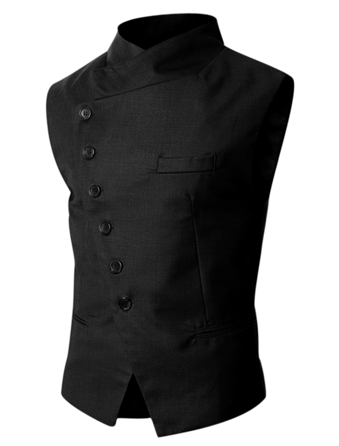 Man Black Stand Collar Single Breasted Slim Fit Casual Gilet M