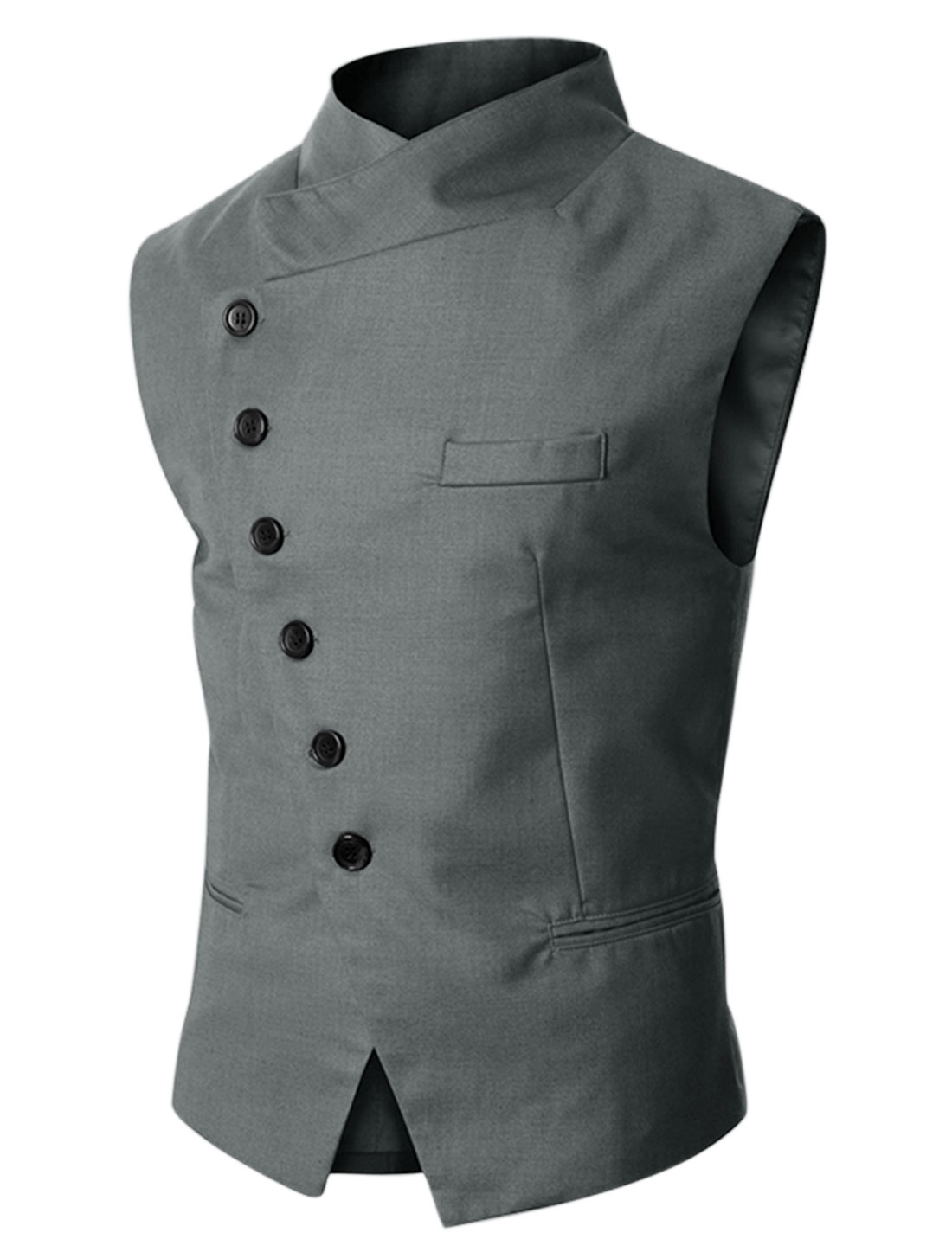 Man Gray Stand Collar Single Breasted Pocket Front Gilet M