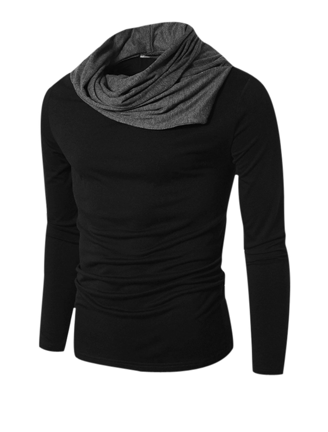 Men Turtle Neck Long Sleeve Casual Design T-Shirt Black M