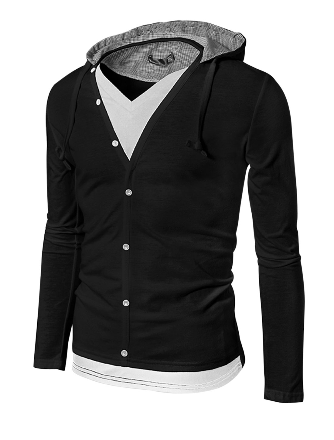 Men Layered Designs Long Sleeve Fashion Design Hoodie Causal Jacket Black S