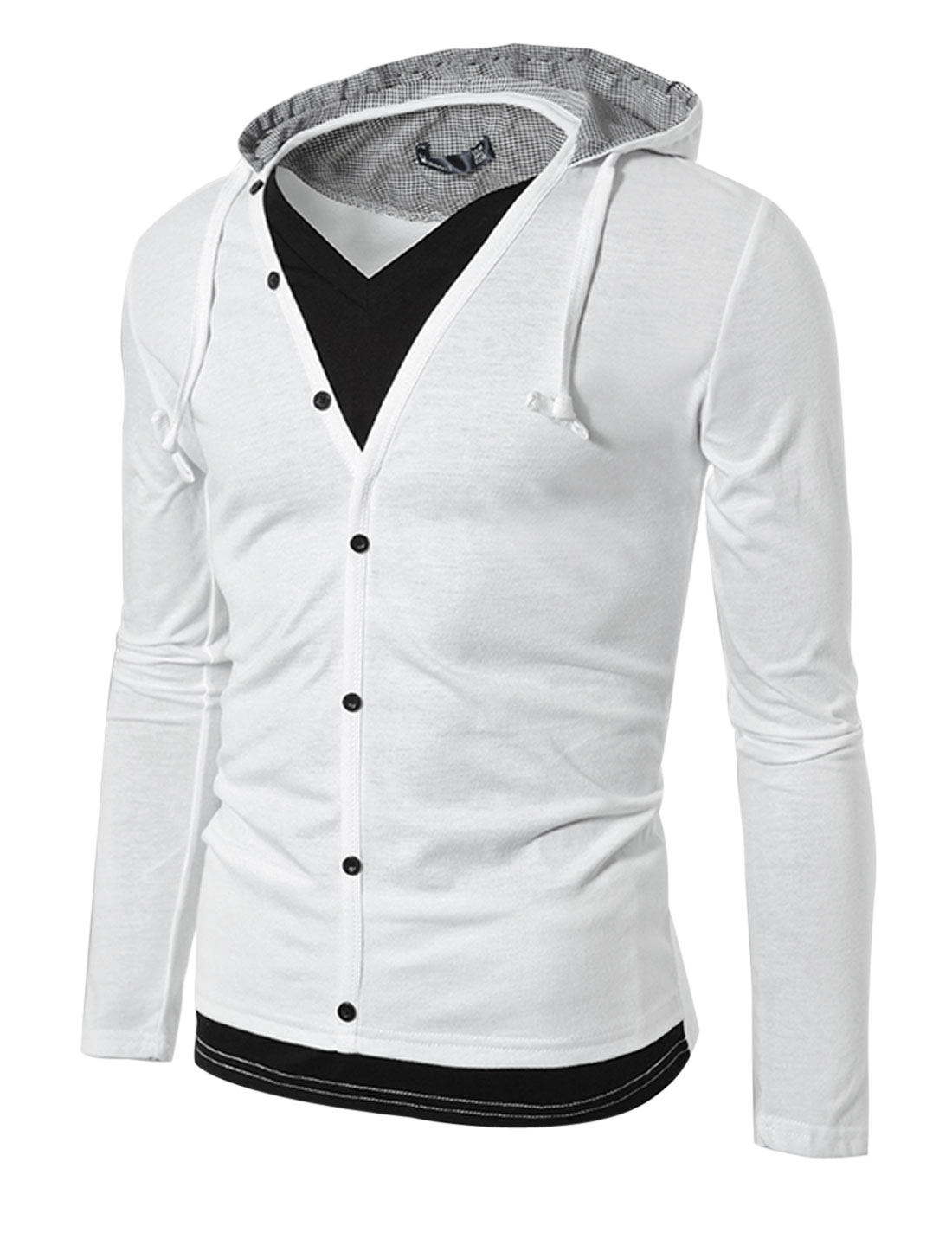 Men Layered Designs V Neck Fashion Design Hoodie Causal Jacket White S