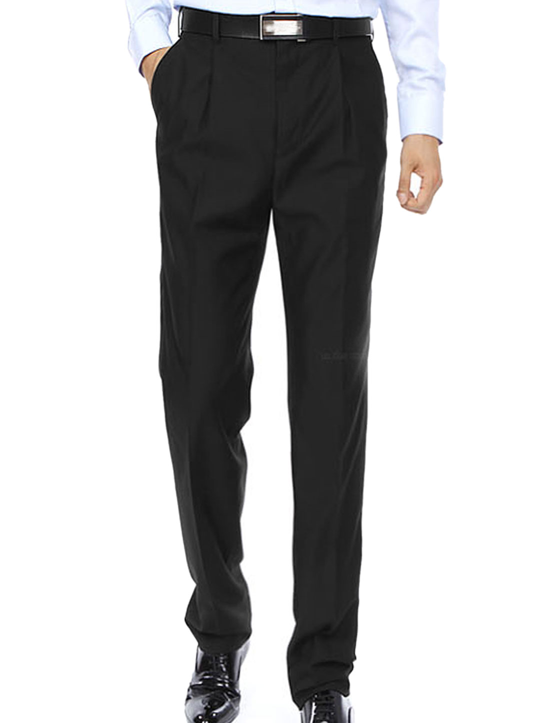 Men Hook Eye Closed Button Through Pocket Back Flat Front Dress Pants Black W36