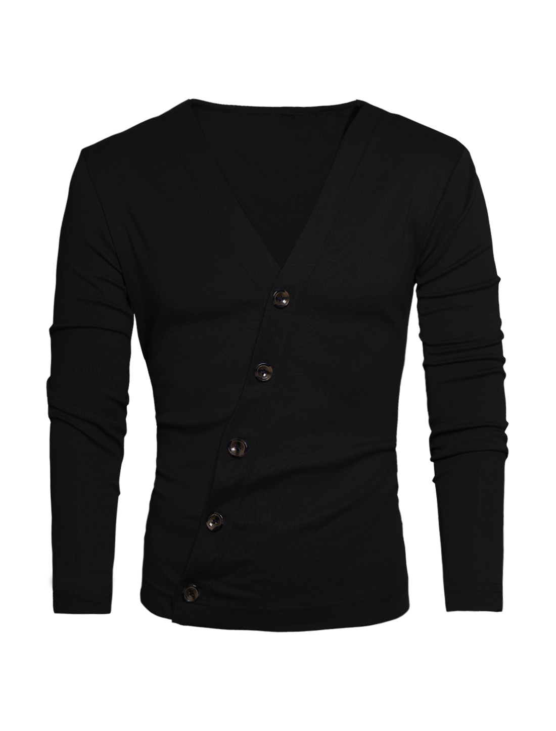 Men Deep V Neck Long Sleeve Inclined Button Closure Casual Cardigan Black M