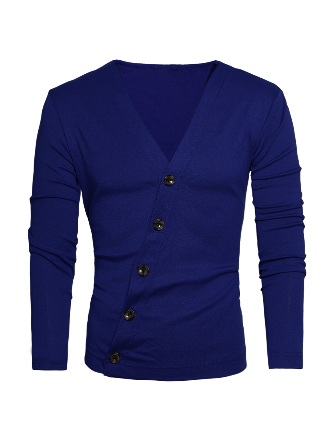 Men Low Cut V Neck Inclined Button Down Long Sleeve Casual Cardigan Royal Blue M