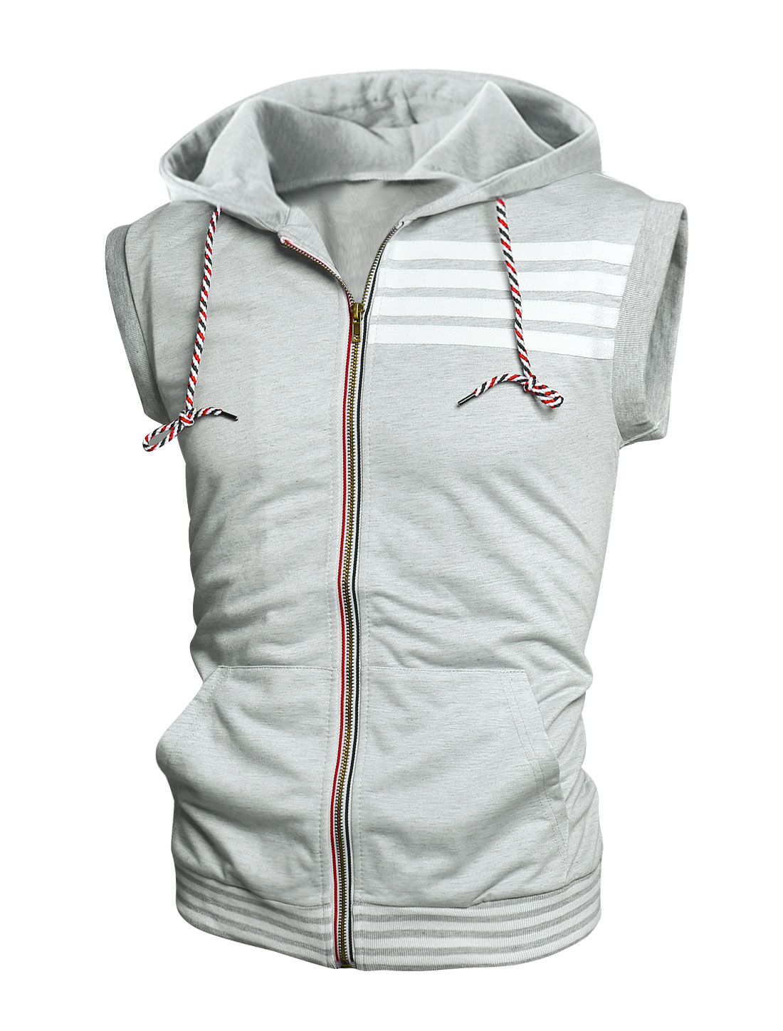 Men Hooded Sleeveless Two Front Pockets Casual Vest Light Gray M