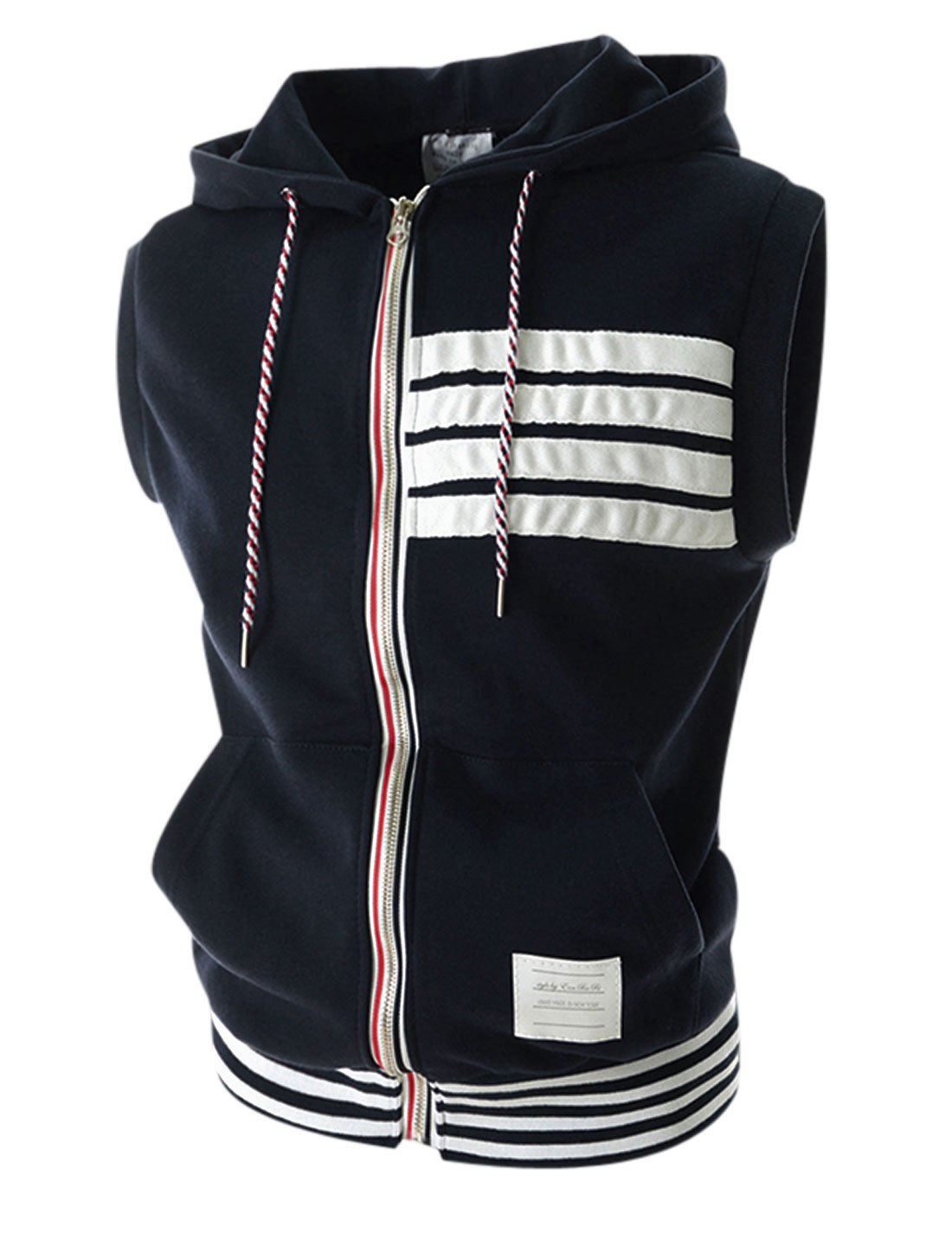 Men Hooded Sleeveless Zip Closure Casual Vest Navy Blue M