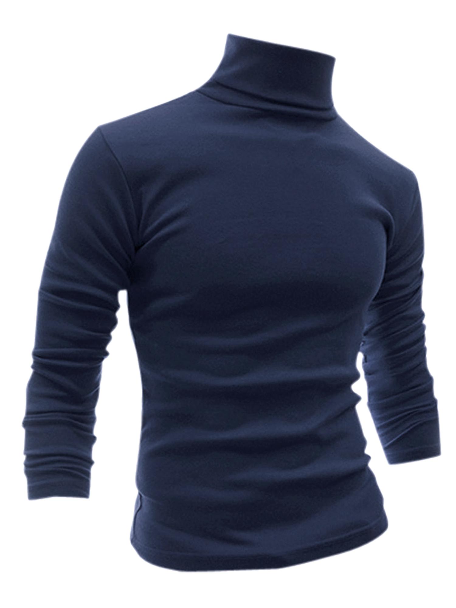 Men Slim Turtle Neck Design Soft Shirt Navy Blue S