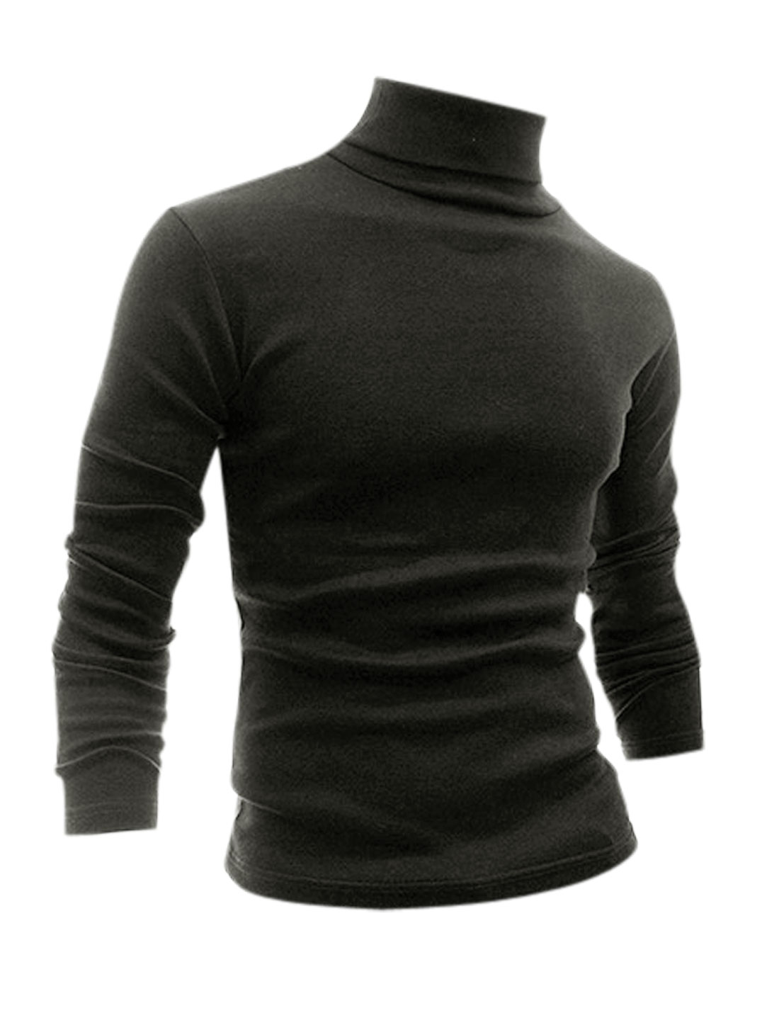 Men Slim Fit Turtle Neck Long Sleeves Design Shirt Dark Gray S