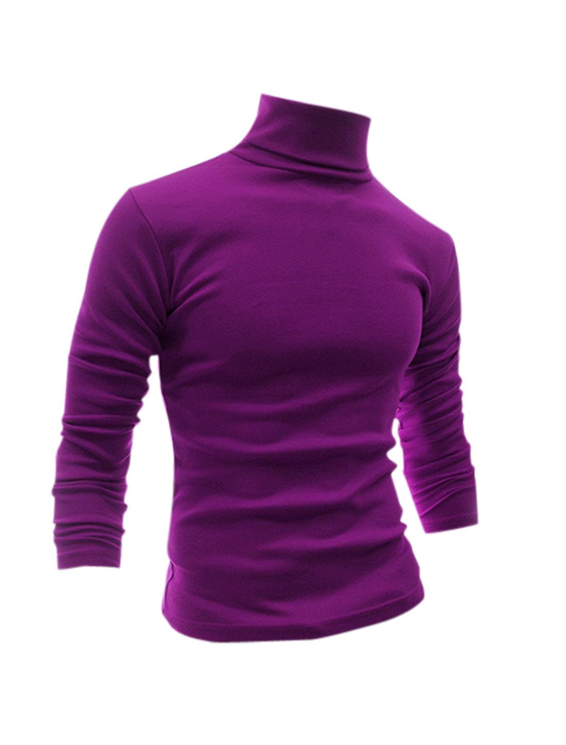 Men Turtle Neck Long Sleeves Slim Fit T-Shirt Purple S