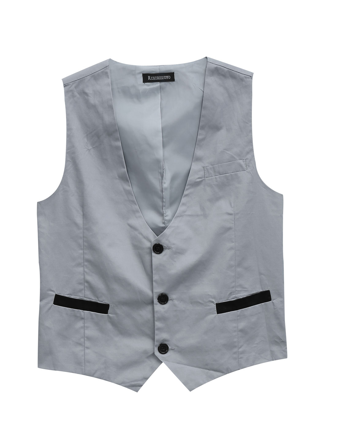 Men Deep V Neck Chest Pocket Decor Buckle Strap Back Casual Vest Light Gray M