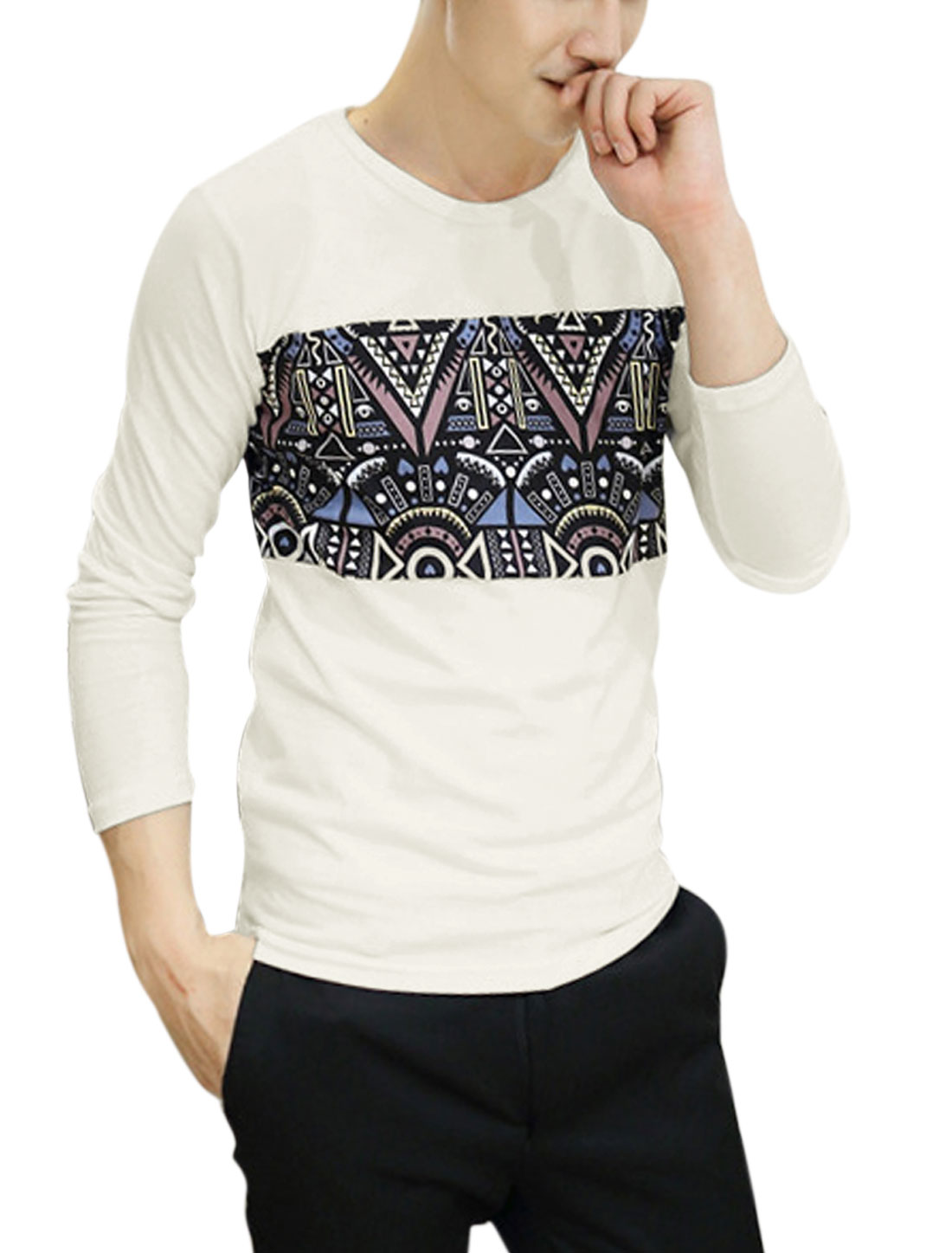 Man Black Round Neck Long Sleeves Pullover Slim Fit Novelty Prints Shirt S